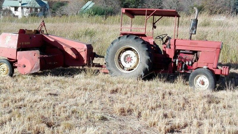 International Harvester 684 Tractor, Welger ap45 Square Baler and Plough